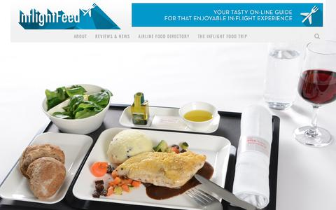 Screenshot of Home Page inflightfeed.com - airline food reviews, news and information for passengers - captured Sept. 13, 2018