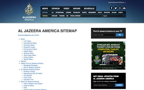 Screenshot of Site Map Page aljazeera.com - Sitemap | Al Jazeera America - captured Sept. 19, 2014