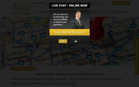 Screenshot of Locations Page kenallenlaw.com - Indiana & Illinois Personal Injury Attorney - Locations - captured Nov. 27, 2016