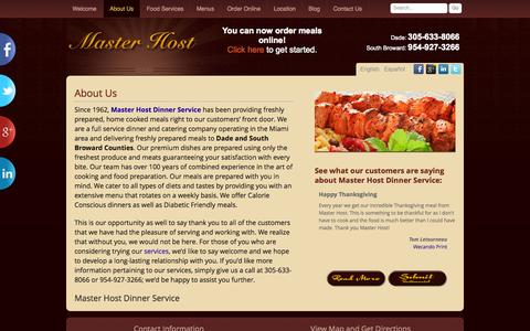 Screenshot of About Page master-host.net - About Master Host Dinner Service - captured Oct. 1, 2014