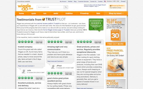 Screenshot of Testimonials Page wiggle.com - | Wiggle - captured Oct. 31, 2014