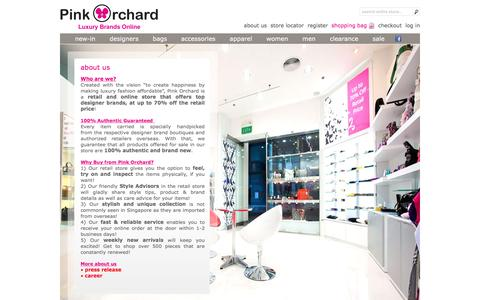 Screenshot of About Page pinkorchard.com - About Us | Pink Orchard - Luxury Brands Online - captured Jan. 21, 2016