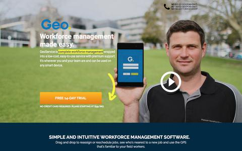 Screenshot of Landing Page geoop.com - Workforce management made easy. GeoService Integrates with Xero, MYOB, etc. - captured April 27, 2018