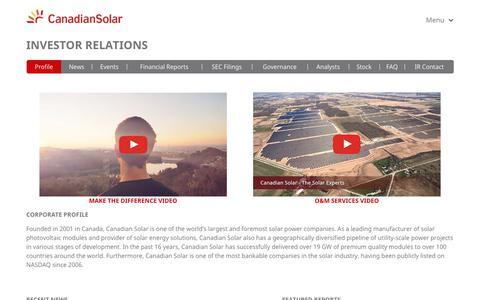 Screenshot of Press Page canadiansolar.com - Investor Relations   Canadian Solar Inc. - captured April 26, 2018