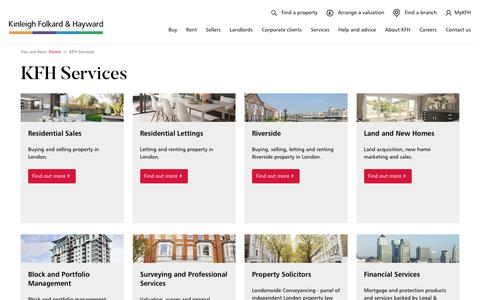 Screenshot of Services Page kfh.co.uk - KFH Services - captured Nov. 2, 2019
