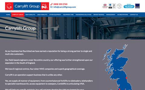 Screenshot of About Page carryliftgroup.com - Carrylift, The UK's Number One Independent Materials Handling Business - captured Dec. 14, 2018