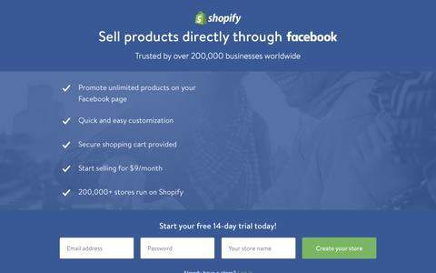 Screenshot of Landing Page shopify.com - Sell products directly through Facebook - captured Dec. 9, 2015