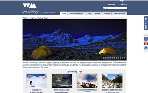 Screenshot of Home Page whitemagicadventure.com - White Magic: Trekking, Mountaineering & Adventure holiday specialists in Himalayas - captured Oct. 7, 2014