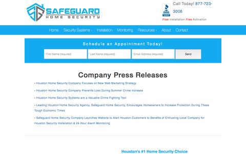 Screenshot of Press Page safeguardhomesecurity.com - Company Press Releases - captured May 27, 2017