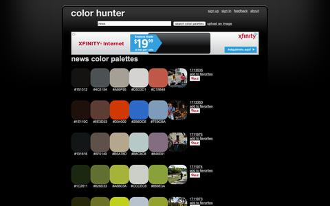 Screenshot of Press Page colorhunter.com - News Color Palettes - captured Jan. 20, 2016