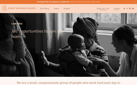 Screenshot of Jobs Page everymothercounts.org captured Nov. 5, 2018