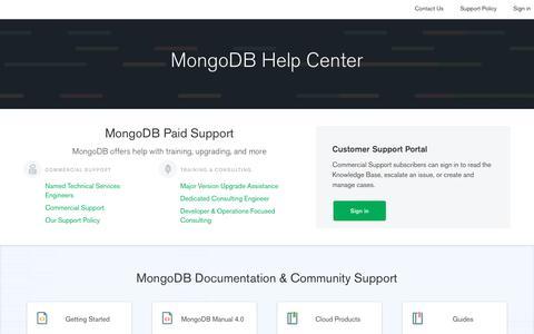 Screenshot of Support Page mongodb.com - MongoDB Support - captured Nov. 23, 2019