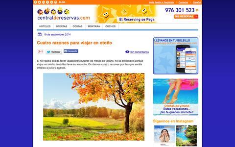 Screenshot of Blog centraldereservas.com - Blog de hoteles y viajes Central de Reservas .com - captured Sept. 19, 2014