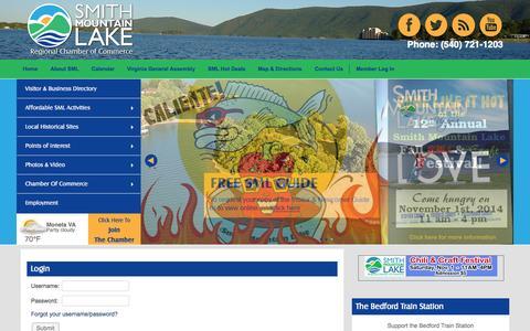 Screenshot of Login Page visitsmithmountainlake.com - Login - Chamber Information - captured Oct. 6, 2014
