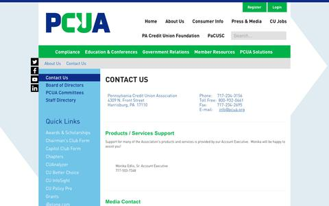 Screenshot of Contact Page pcua.org - PCUA > About Us > Contact Us - captured Jan. 26, 2020