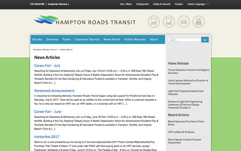 Screenshot of Press Page gohrt.com - News Room - Hampton Roads Transit - Bus, trolley, light rail, and ferry transportation, routes, schedules, rates and contacts. - captured July 14, 2017