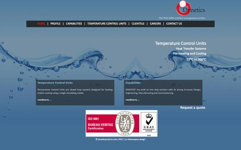 Screenshot of Home Page dyneticproducts.com - Home - Dynetic Products Private Limited - captured Oct. 5, 2014