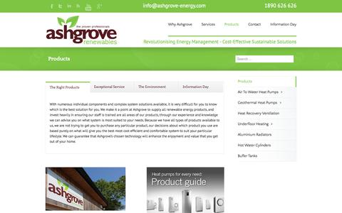 Screenshot of Products Page ashgrove.ie - Ashgrove Renewables Products - Ashgrove Renewables - captured Oct. 4, 2014