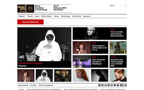 Screenshot of Home Page sonarstockholm.com - S�nar Stockholm 26.27 February 2016 :: 2016 :: Music, Creativity & Technology - captured Jan. 12, 2016