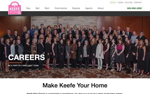 Screenshot of Jobs Page keeferealestate.com - Careers with Keefe| Take Advantage of Numerous Career Tracks - captured Oct. 17, 2017