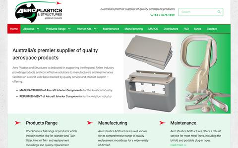 Screenshot of Home Page aeroplastics.com.au - Aeroplastics, Australia, Aerospace Products - captured Oct. 3, 2018