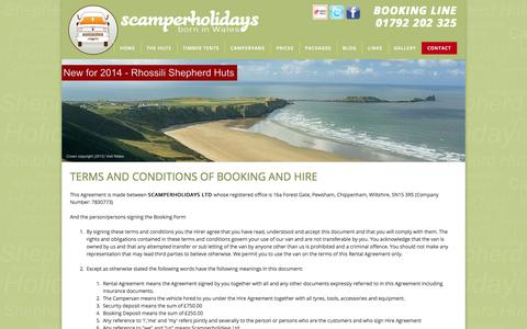 Screenshot of Terms Page scamperholidays.co.uk - scamper holidays campervan hire terms and conditions - captured Oct. 4, 2014
