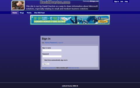 Screenshot of Login Page davidoverton.com - David Overton's Blog and Discussion Site - captured Jan. 31, 2018