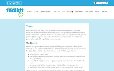 Screenshot of Terms Page paintoolkit.org - Terms & Conditions - captured July 12, 2017