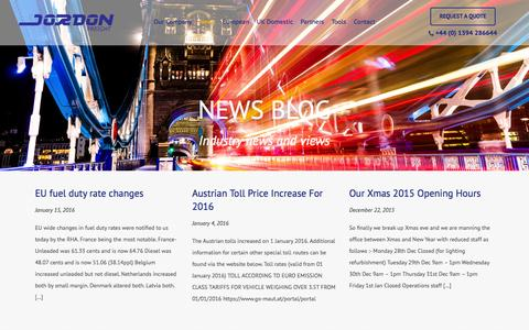 Screenshot of Press Page jordonfreight.com - News - Jordon Freight - captured Feb. 11, 2016