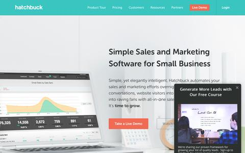 Screenshot of Home Page hatchbuck.com - Sales and Marketing Software for Small Business - Hatchbuck - captured Feb. 15, 2016
