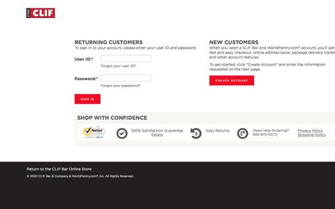 Screenshot of Login Page worldpantry.com - CLIF Bar - Sign In for Returning Customer or Create Account for New Customers - captured Feb. 12, 2020