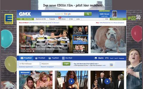 Screenshot of Home Page gmx.net - GMX: E-Mail-Adresse, FreeMail, De-Mail & Nachrichten - captured Feb. 23, 2017