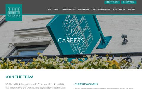 Screenshot of Jobs Page thewestparkhotel.com - Careers | Work at The West Park Hotel and Restaurant in Harrogate - captured Oct. 24, 2018
