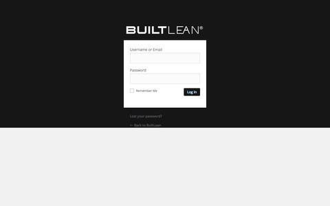 Screenshot of Login Page builtlean.com - BuiltLean ‹ Log In - captured Aug. 22, 2016