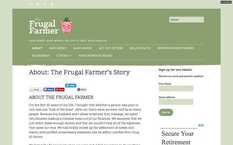 Screenshot of About Page thefrugalfarmer.net - About: The Frugal Farmer's Story – The Frugal Farmer - captured Oct. 16, 2017