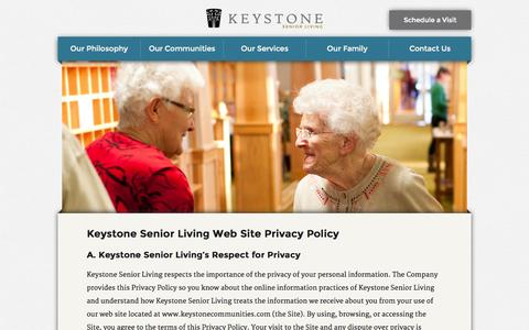Screenshot of Privacy Page keystonecommunities.com - Privacy Policy - captured Oct. 6, 2014