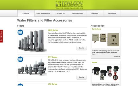 Screenshot of Products Page tekleen.com - TEKLEEN Industrial and Irrigation Water Filters, Flush Valves, and Controllers - Automatic Filters Inc. - captured July 9, 2018