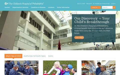 Screenshot of Home Page chop.edu - The Children's Hospital of Philadelphia - captured Oct. 2, 2015