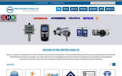 Screenshot of Home Page pmacontrols.in - PMA Controls | PMA Controls - captured Oct. 16, 2016