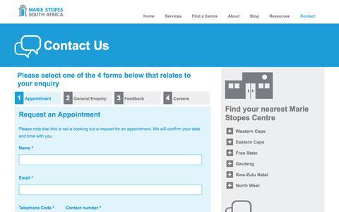 Screenshot of Contact Page mariestopes.org.za - Contact   Marie Stopes SA - captured Sept. 22, 2018
