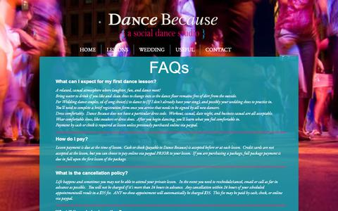 Screenshot of FAQ Page dancebecause.com - Dance Because Dance Questions, Manchester, NH - captured Oct. 7, 2018
