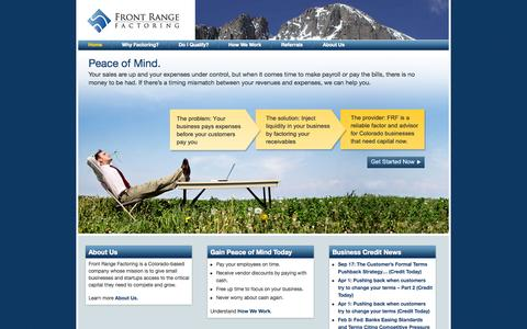 Screenshot of Home Page frontrangefactoring.com - Small Business Factoring in Colorado - captured Sept. 30, 2014