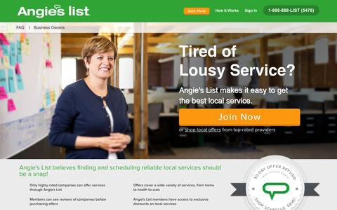 Screenshot of Home Page angieslist.com - Angie's List | Find a Local Business, Ratings, Reviews, Deals - captured Feb. 16, 2016
