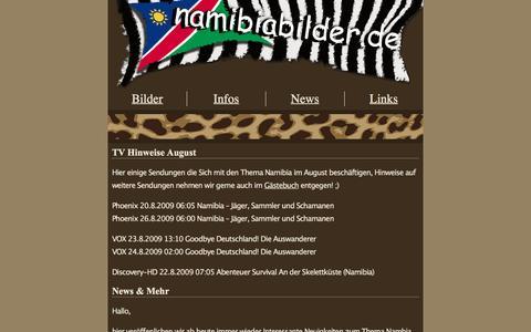 Screenshot of Press Page namibiabilder.de - 2009 | Namibiabilder.de - captured June 11, 2016