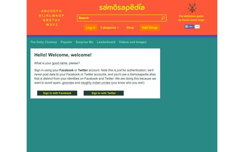 Screenshot of Login Page samosapedia.com - Samosapedia : The definitive guide to South Asian Lingo - captured Sept. 19, 2014