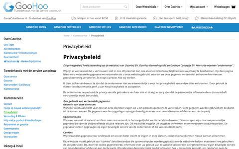 Screenshot of Privacy Page gamecubegames.nl - Privacybeleid van GooHoo - captured Oct. 21, 2018