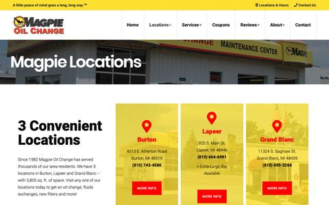 Screenshot of Locations Page magpieoilchange.com - Oil Change Locations Near Me | Magpie Oil Change - captured Nov. 6, 2018