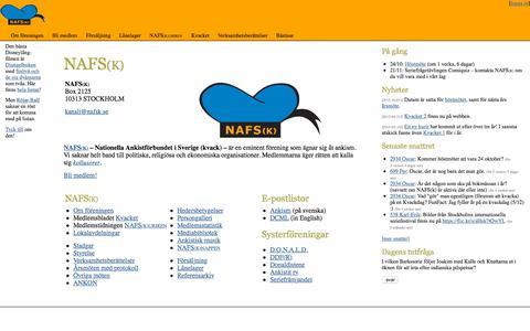 Screenshot of Home Page nafsk.se - NAFS(k) - captured Oct. 10, 2015