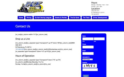 Screenshot of Contact Page prokartexp.com - Go Karts in the Tampa Bay Area | 727-525-KART - captured Nov. 2, 2014