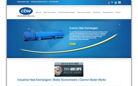 Screenshot of Home Page cannonboilerworks.com - Industrial Heat Exchangers | Boiler Economizers | Cannon Boiler Works - captured Jan. 23, 2015